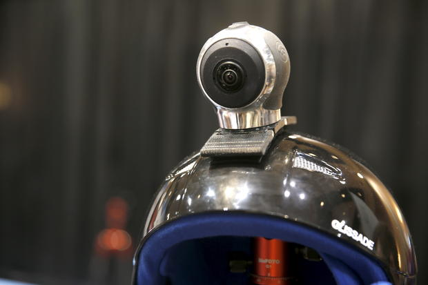 "An Allie Go, a 360-degree action cam, by IC Real Tech is shown on a helmet during ""CES Unveiled,"" a preview event of the 2016 International CES trade show, in Las Vegas, Nevada January 4, 2016. The $599.00 camera uses two sensors with over 180 degree-coverage each and combines the video in the unit using Qualcomm processors. REUTERS/Steve Marcus - RTX21206"